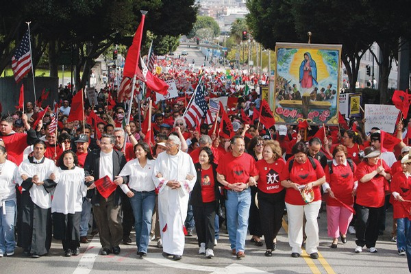 Dolores Huerta (in black jacket) is front and center during a United Farm Workers union rally in Los Angeles in 2006.
